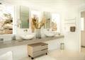 衛生間,洗手盆,洗手臺,背景墻,插花擺件