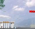大门,标志墙,围栏栏杆,旗帜,门卫室