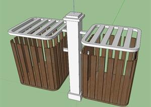 木制垃圾箱设计SU(草图大师)模型