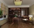書房,書桌椅,書柜,椅子,邊幾,臺燈,吸頂燈,百葉窗