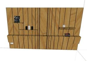 木质背景墙设计SU(草图大师)模型