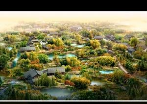 某中式风格生态住宅区景观psd效果图