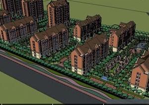 英式风格小区规划设计SU(草图大师)模型