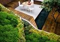 坐凳,木板铺装,桌椅组合,绿植,种植池
