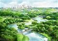 海湾景观,园桥,河流,常绿乔木