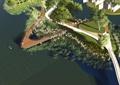 公园景观,园路,水景,植物