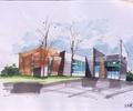办公楼,办公建筑,建筑手绘图,手绘效果图