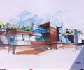 办公楼,建筑手绘图,办公建筑,手绘效果图