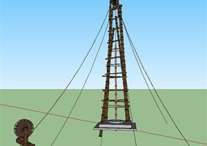 某木制钻井平台设计SU(草图大师)模型