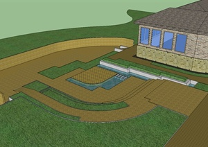 学生作业——某单层民居及小花园概念设计SU(草图大师)模型