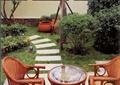 汀步,草坪景观,桌椅,木桌椅