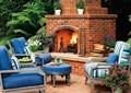 壁炉,沙发,桌子,庭院景观