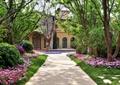 园路景观,地面铺装,草坪,花卉植物,常绿乔木,灌木球,住宅景观