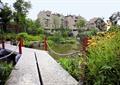 石栈道,栏杆,花卉植物,涉水景观,景石,常绿乔木,住宅景观