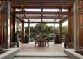 廊架,花钵,矮墙,桌椅组合,模板铺装