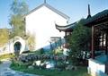 庭院,水池,水景,驳岸,铺装,拱门墙,廊架,亭子